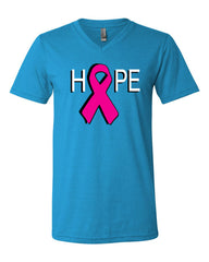 HOPE Breast Cancer Awareness Pink Ribbon V-Neck T-Shirt  Tee - Tee Hunt - 11