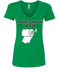 That's How I Roll Funny  V-Neck T-Shirt Toilet Paper Roll - Tee Hunt - 10