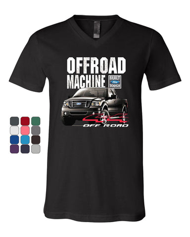 Licensed Ford F-150 V-Neck T-Shirt Offroad Machine Built Ford Tough - Tee Hunt - 1