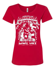 American Firefighter First In Last Out Women's T-Shirt Fire Rescue Tee