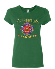 Firefighters Kick Ash Cotton T-Shirt  Volunteer FD Fire Rescue