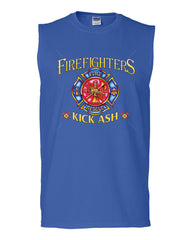 Firefighters Kick Ash Muscle Shirt  Volunteer FD Fire Rescue