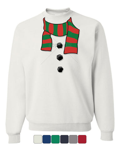 Snowman Scarf Crew Neck Sweatshirt Funny Christmas New Year Holidays