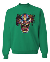 Mad Evil Clown Face Crew Neck Sweatshirt Scary Horror Insane Joker
