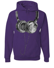 Huge Hanging Headphones Hoodie DJ Music Sweatshirt - Tee Hunt - 3