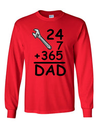 DAD 24 7 365 Long Sleeve T-Shirt Funny Dad Gift Father's Day - Tee Hunt - 5