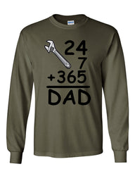 DAD 24 7 365 Long Sleeve T-Shirt Funny Dad Gift Father's Day - Tee Hunt - 7