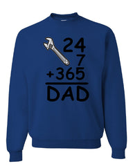 DAD 24 7 365 Crew Neck Sweatshirt Funny Dad Gift Father's Day