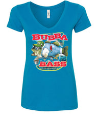 Bubba Bass V-Neck T-Shirt Funny Fishing - Tee Hunt - 5