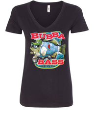 Bubba Bass V-Neck T-Shirt Funny Fishing - Tee Hunt - 2