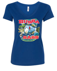 Bubba Bass V-Neck T-Shirt Funny Fishing - Tee Hunt - 4