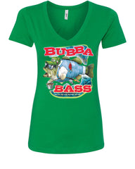 Bubba Bass V-Neck T-Shirt Funny Fishing - Tee Hunt - 10
