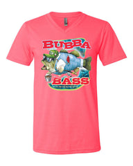 Bubba Bass V-Neck T-Shirt Funny Fishing Tee - Tee Hunt - 9