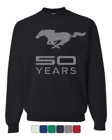 Ford Mustang 50 Years Crew Neck Sweatshirt Anniversary Licensed - Tee Hunt - 1