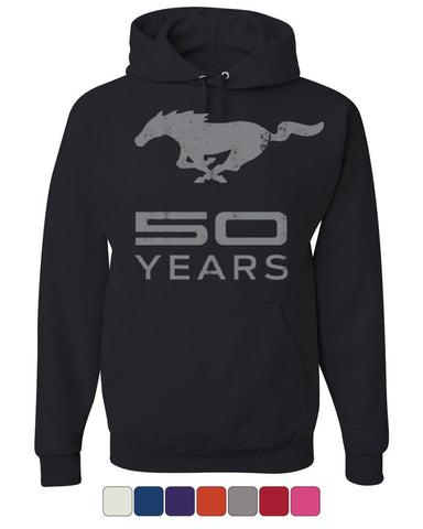 Ford Mustang 50 Years Hoodie Anniversary Licensed Sweatshirt - Tee Hunt - 1