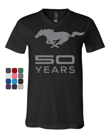 Ford Mustang 50 Years V-Neck T-Shirt Anniversary Licensed Tee - Tee Hunt - 1