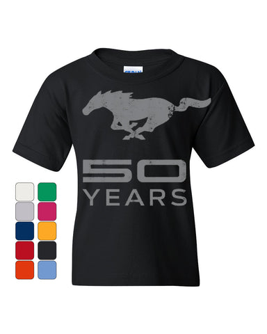 Ford Mustang 50 Years Youth T-Shirt Anniversary Licensed Tee - Tee Hunt - 1