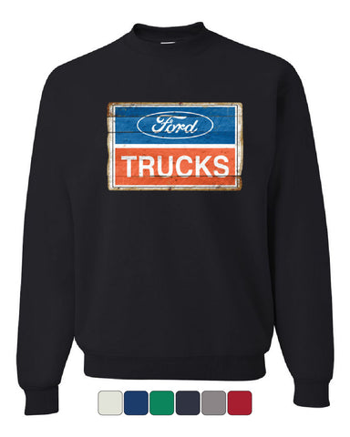 Ford Trucks Old Sign Sweatshirt Licensed Ford Built Tough