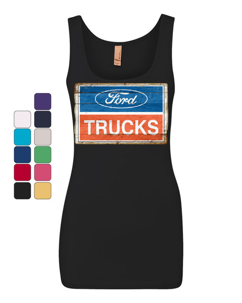 Ford Trucks Old Sign Tank Top Licensed Ford Built Tough Top