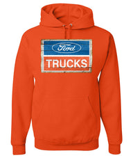 Ford Trucks Old Sign Hoodie Licensed Ford Built Tough Sweatshirt