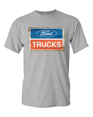 Ford Trucks Old Sign T-Shirt Licensed Ford Built Tough Tee Shirt