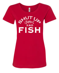 Shut Up And Fish Women's T-Shirt Funny Fishing Tee - Tee Hunt - 3