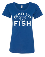 Shut Up And Fish Women's T-Shirt Funny Fishing Tee - Tee Hunt - 4