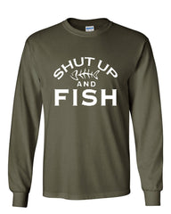 Shut Up And Fish Long Sleeve T-Shirt Funny Fishing - Tee Hunt - 8