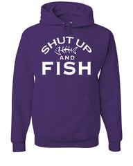Shut Up And Fish Hoodie Funny Fishing Sweatshirt - Tee Hunt - 3