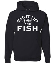 Shut Up And Fish Hoodie Funny Fishing Sweatshirt - Tee Hunt - 2