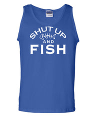 Shut Up And Fish Tank Top Funny Fishing Muscle Shirt - Tee Hunt - 3