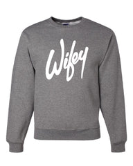Wifey Crew Neck Sweatshirt Wife Bride Wedding Marriage - Tee Hunt - 6