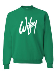 Wifey Crew Neck Sweatshirt Wife Bride Wedding Marriage - Tee Hunt - 3