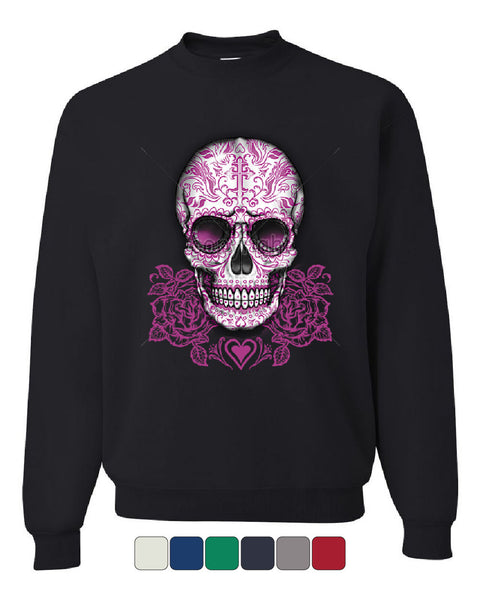 Pink Sugar Skull With Roses Sweatshirt Calavera Day of The Dead - Tee Hunt - 1