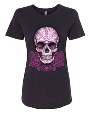 Pink Sugar Skull With Roses T-Shirt Calavera Day of The Dead - Tee Hunt - 2