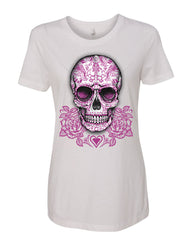 Pink Sugar Skull With Roses T-Shirt Calavera Day of The Dead - Tee Hunt - 8