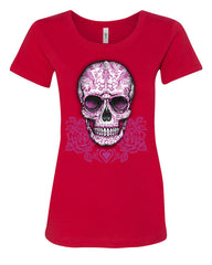 Pink Sugar Skull With Roses T-Shirt Calavera Day of The Dead - Tee Hunt - 3