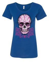 Pink Sugar Skull With Roses T-Shirt Calavera Day of The Dead - Tee Hunt - 4