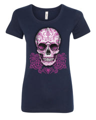 Pink Sugar Skull With Roses T-Shirt Calavera Day of The Dead - Tee Hunt - 5