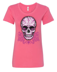 Pink Sugar Skull With Roses T-Shirt Calavera Day of The Dead - Tee Hunt - 6