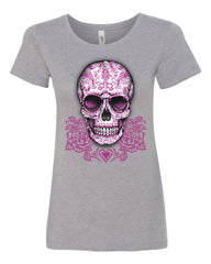 Pink Sugar Skull With Roses T-Shirt Calavera Day of The Dead - Tee Hunt - 7