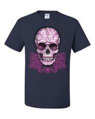 Pink Sugar Skull With Roses T-Shirt Calavera Day of The Dead Tee Shirt - Tee Hunt - 7