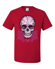 Pink Sugar Skull With Roses T-Shirt Calavera Day of The Dead Tee Shirt - Tee Hunt - 5