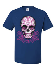 Pink Sugar Skull With Roses T-Shirt Calavera Day of The Dead Tee Shirt - Tee Hunt - 6