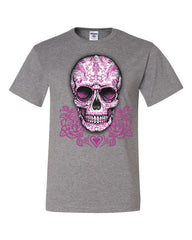 Pink Sugar Skull With Roses T-Shirt Calavera Day of The Dead Tee Shirt - Tee Hunt - 11
