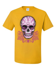 Pink Sugar Skull With Roses T-Shirt Calavera Day of The Dead Tee Shirt - Tee Hunt - 4