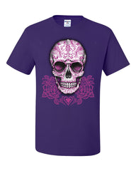 Pink Sugar Skull With Roses T-Shirt Calavera Day of The Dead Tee Shirt - Tee Hunt - 9