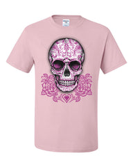 Pink Sugar Skull With Roses T-Shirt Calavera Day of The Dead Tee Shirt - Tee Hunt - 10