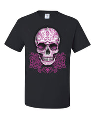 Pink Sugar Skull With Roses T-Shirt Calavera Day of The Dead Tee Shirt - Tee Hunt - 2