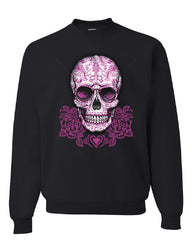 Pink Sugar Skull With Roses Sweatshirt Calavera Day of The Dead - Tee Hunt - 2